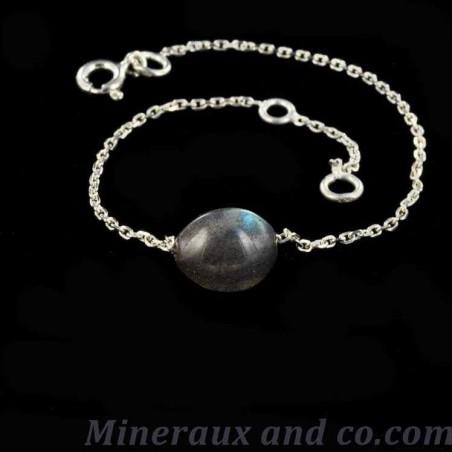 Bracelet argent 925 et perle ovale de labradorite.