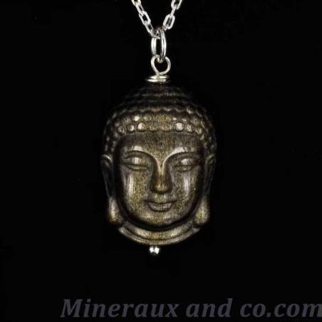 Pendentif bouddha cambodgien obsidienne doré