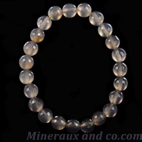 Bracelet perles de calcédoine facettées