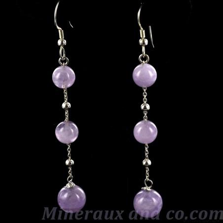 Boucles d' oreilles chaînette argent 925 et perles d'améthyste.