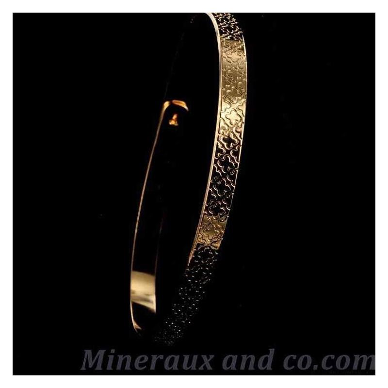 Bracelet plat fleur or rose