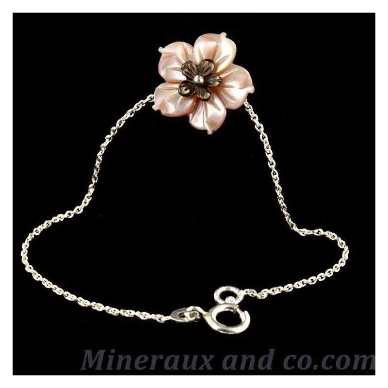 Bracelet nacre rose et grise chaîne argent 925.