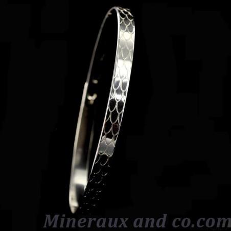 Bracelet plat argent écaille serpent.