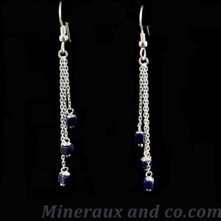 Boucles d'oreilles pendantes lapis-lazuli.