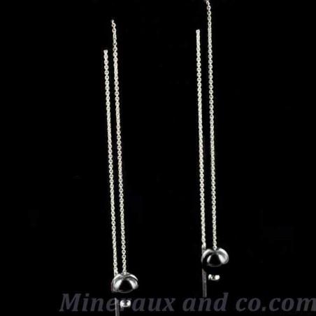 Boucles d'oreilles perles hématite et chaîne pendante