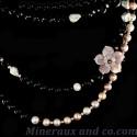 Collier sautoir perles de culture et d'onyx