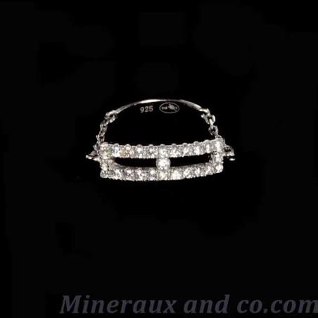 Bagues chaîne rectangle argent 925 zirconiums.