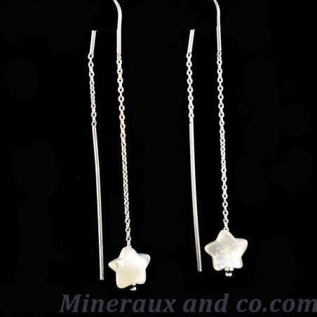 Boucles d'oreilles chaînes pendantes argent étoiles de nacre