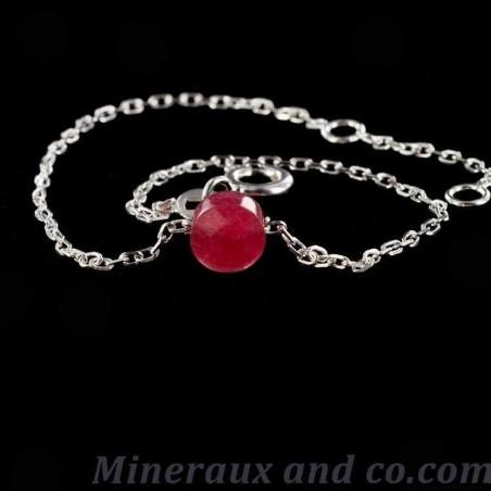 Bracelet chaine argent 925 et rubellite.