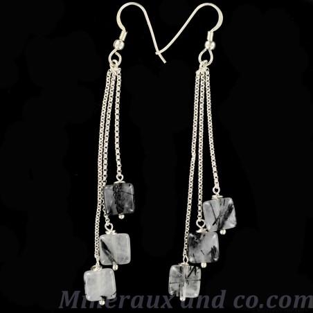 Boucles d'oreilles quartz tourmaline.