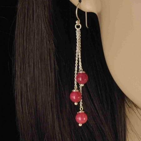 Boucles d'oreilles chaînettes argent 925 et pierre serpentine