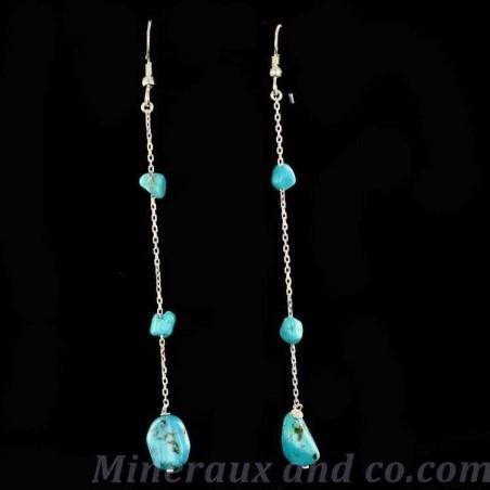 Boucles d'oreilles trois turquoises azur