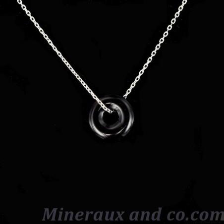 Collier argent et pendentif donut onyx