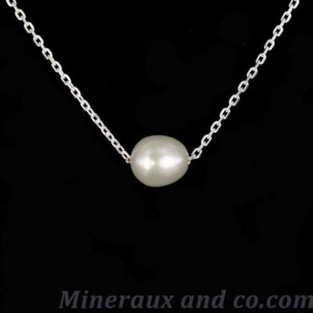 Collier chaîne argent et pendentif en perle de culture