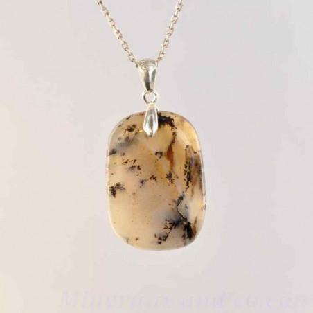 Pendentif en opale dendrite et argent.