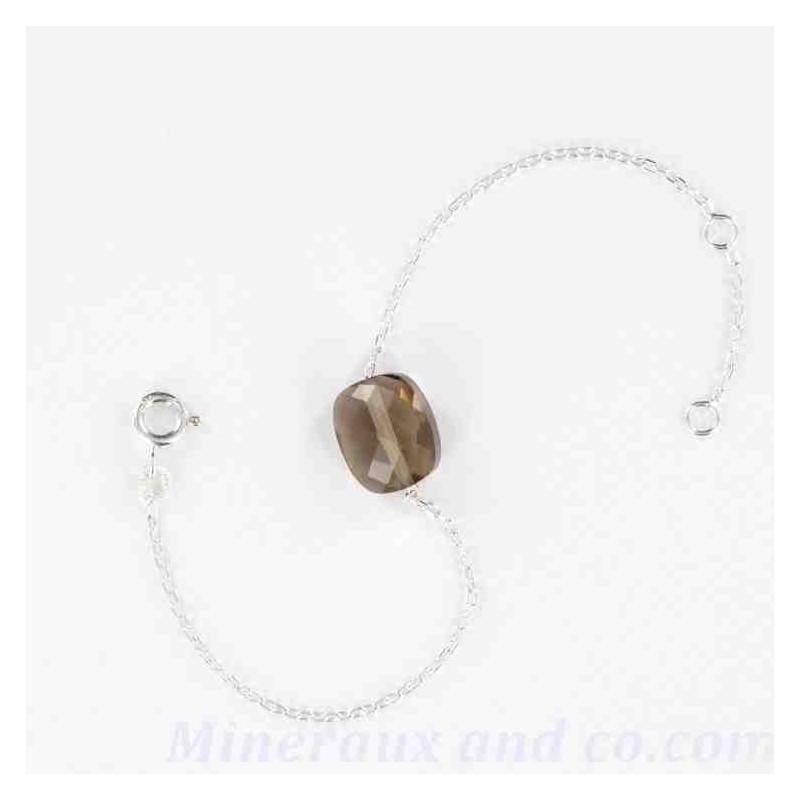 Bracelet en quartz fumé rectangle facetté.
