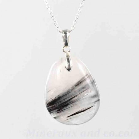 Pendentif quartz tourmaline et argent
