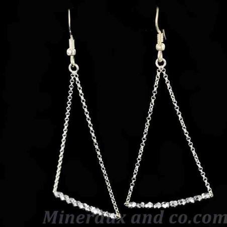 Boucles d'oreilles argent chaîne triangle