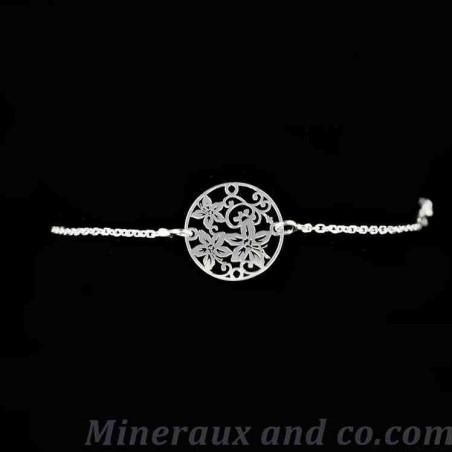 Bracelet médaille fleurs argent 925