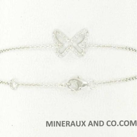 Bracelet papillon argent 925 et zirconiums.