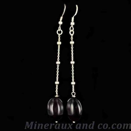 Boucles d'oreilles obsidienne oeil céleste et argent 925.