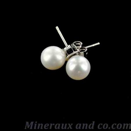Puces d'oreilles perles blanches