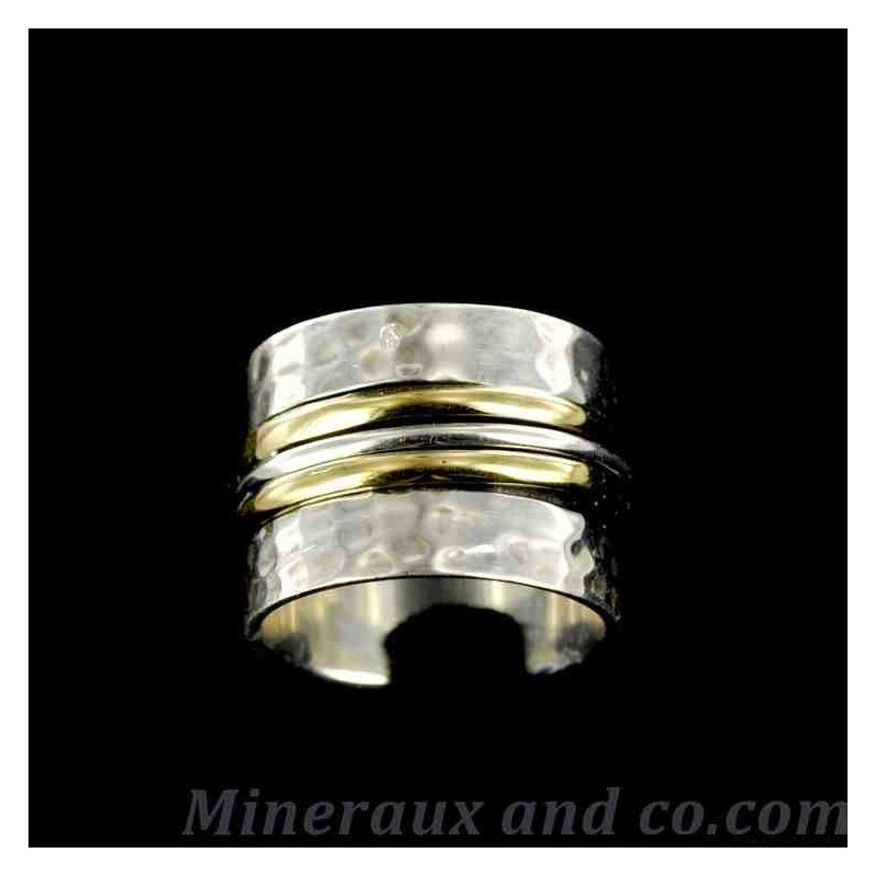Bague argent et deux anneaux de bronze
