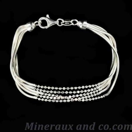 Bracelet cinq fils boules argent