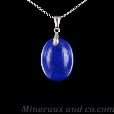 Pendentif Lapis-lazuli attache et chaîne argent 925.