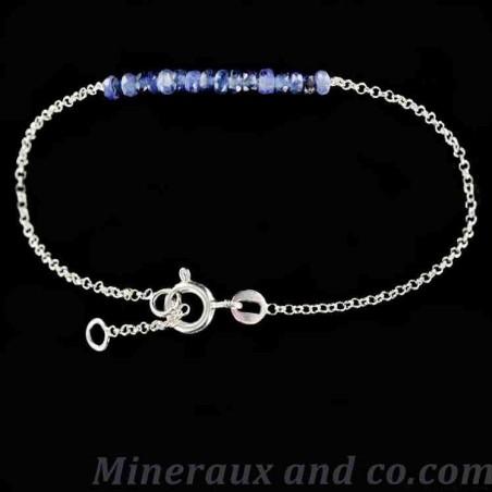 Bracelet perles de saphir chaîne argent