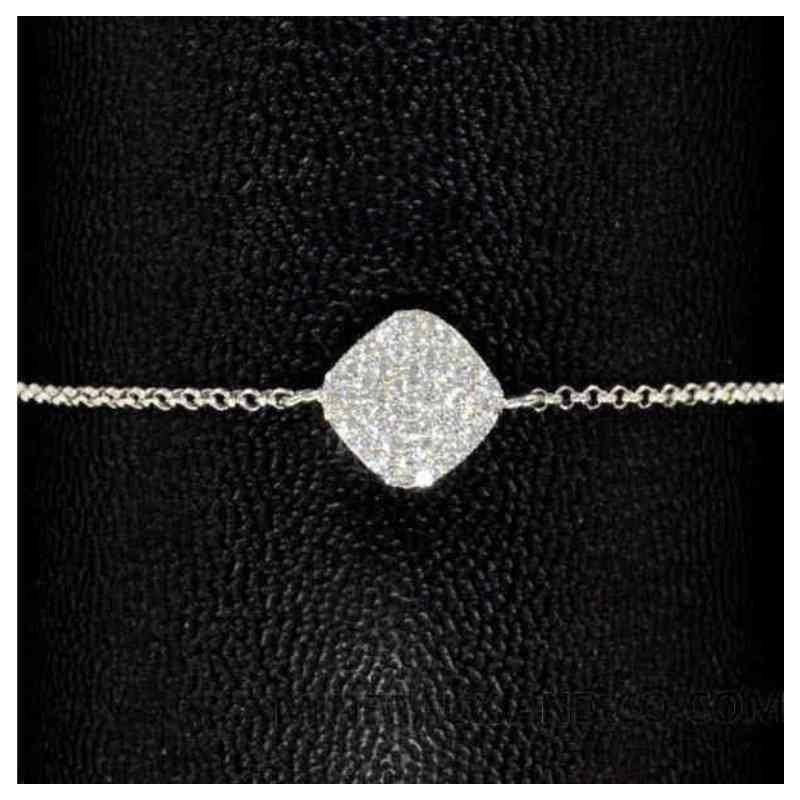 Bracelet carré argent 925 et zirconium