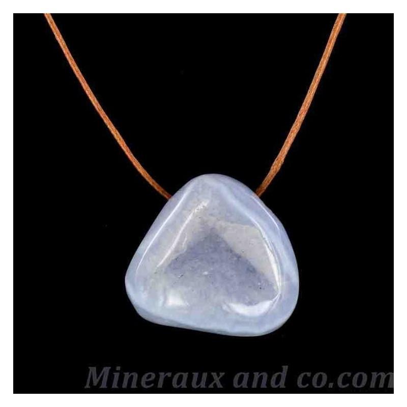 Pendentif pierre calcédoine translucide