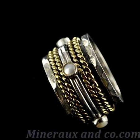 Alliance argent perles et bronze