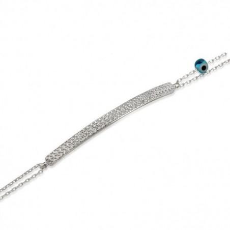 Bracelet argent double chaîne et barrette sertie