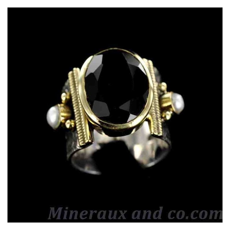Bague argent bronze pierre noire et perles