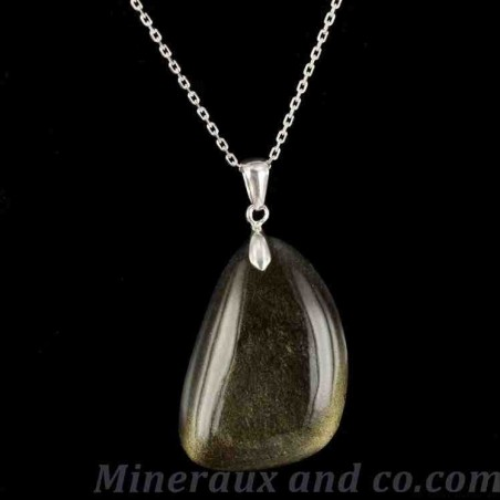 Chaîne et pendentif bijou obsidienne dorée