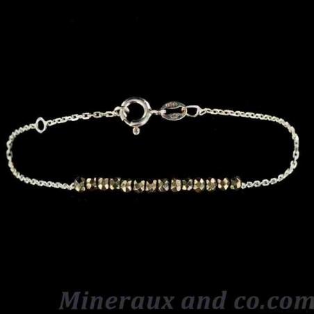 Bracelet perles de pyrite facettées argent 925.
