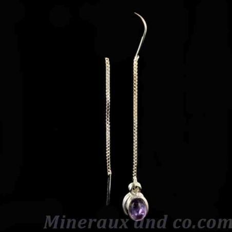 Boucles d'oreilles pendantes et pierre améthyste