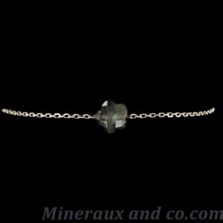 Bracelet chaine argent 925 et carré facetté en labradorite.