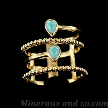 Bague plaquée or turquoise