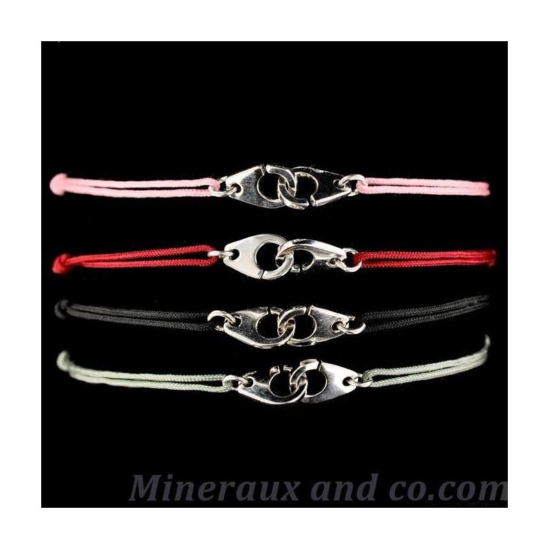 Bracelet cordon menotte argent