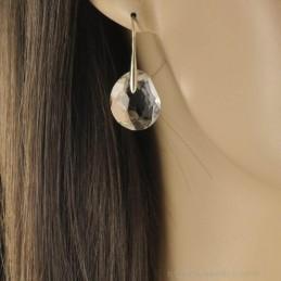 Boucles d'oreilles quartz transparent.