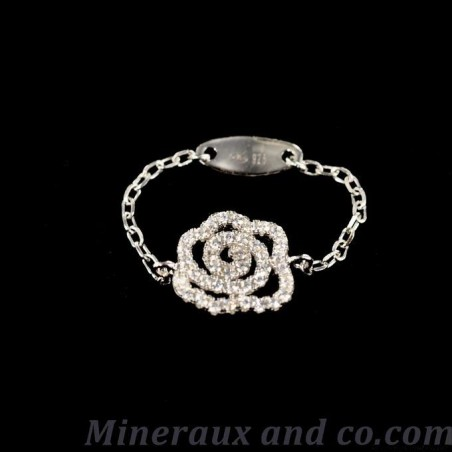 Bague chaîne rose argent 925 et zirconiums.