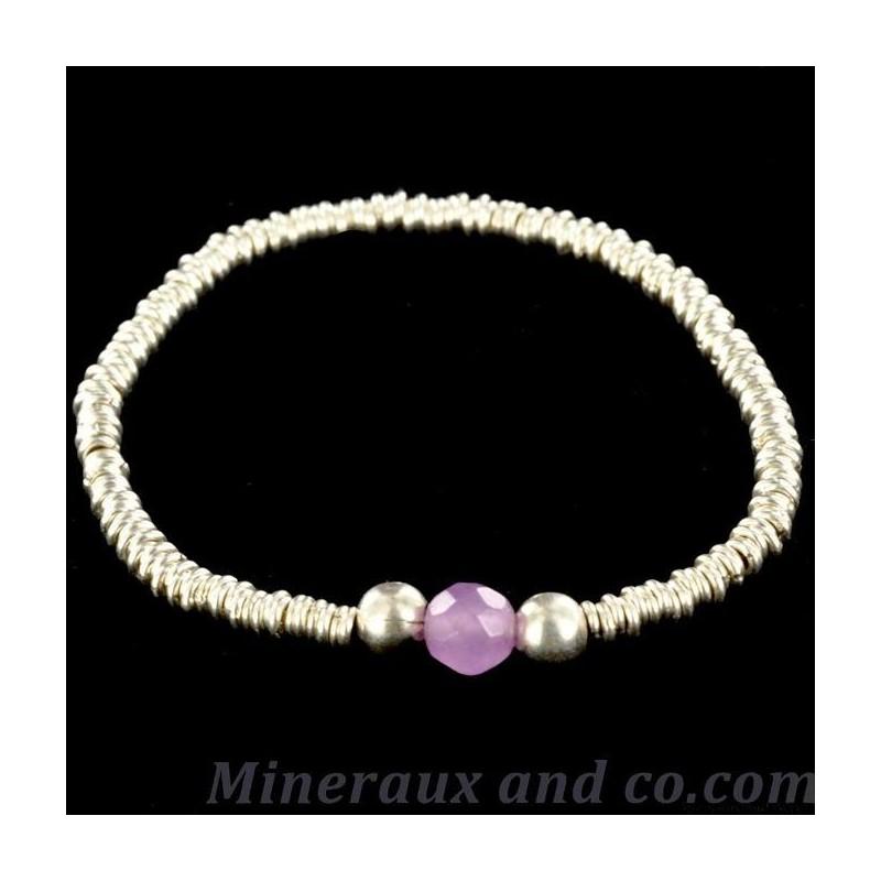 Bracelet argent anneaux et perle d'améthyste.