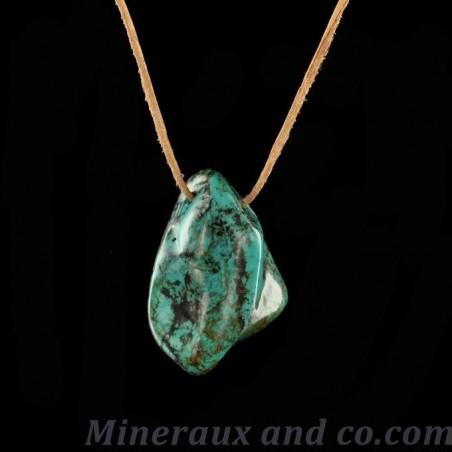 Pendentif turquoise du Tibet en pierre et cordon