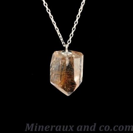 Pendentif quartz pointe avec rutile