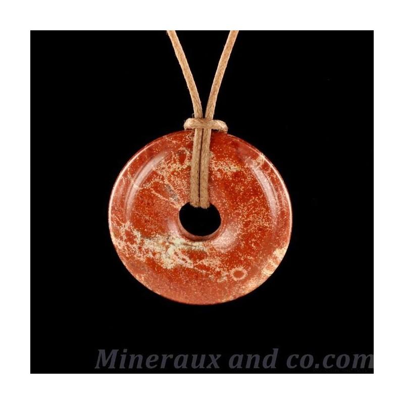 Pendentif donuts en jaspe rouge