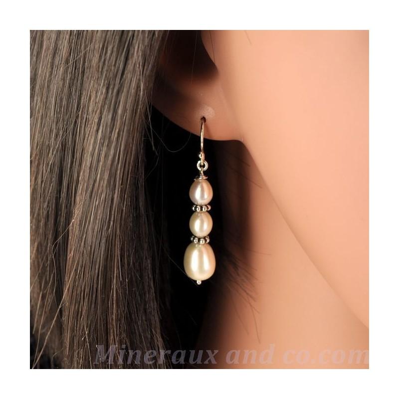 Boucles trois perles d'eau argent