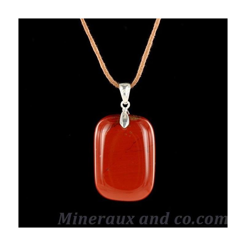 Pendentif jaspe rouge en pierre polie et argent 925.
