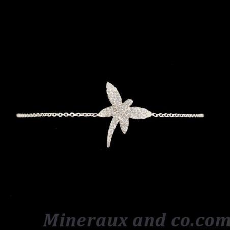 Bracelet libellule argent 925 rhodié et zirconiums sertis.